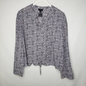 Mossimo Cropped Drawstring Waist Long Sleeve Top